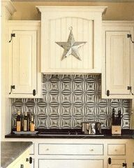 "A very inexpensive and cool idea.  Plastic tiles that look like a tin ceiling found at Homedepot.  Use adhesive to apply to the wall.  At texture and design to the kitchen."" data-componentType=""MODAL_PIN"