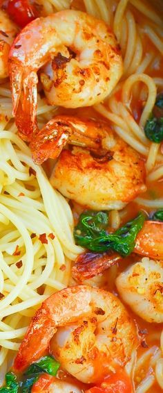 Garlic Basil Tomato Shrimp Pasta.