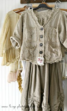 stripes and ragged edges + antique buttons  Magnolia Pearl