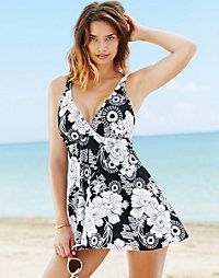 One-Piece Swimsuit: Open-Front Flyaway Swimdress & Attached Tank Suit with Tummy Control