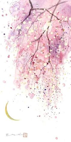 art abstracto [ Phong cnh c i ] Teil 6 - # Sz - art Watercolor Cards, Watercolour Painting, Watercolor Flowers, Painting & Drawing, Watercolors, Cherry Blossom Watercolor, Watercolor Moon, Watercolor Illustration, Painting Inspiration