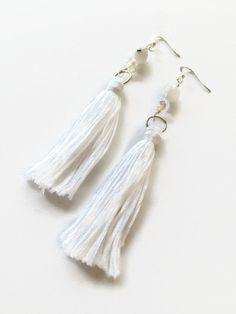 White Tassel Earrings Moonstone Earrings White by JulemiJewelry