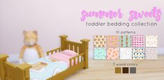 """mellocakes: """" Summer Sweets Toddler Bedding Collection Hey there! If you follow my gameplay, you know that I have two toddlers running around my household, so naturally, I needed some bedding that... Toddler Cc Sims 4, Toddler Bed, Sims 4 Stories, Sims 4 Children, Sims Building, Sims 4 Mm, Sims 4 Build, Sims 4 Update, Sims 4 Custom Content"""