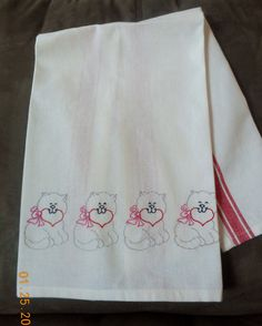 VALENTINE Kitty Dishtowel.  Hand Embroidered.  Vintage/Retro Look by Happy2BCrafty on Etsy