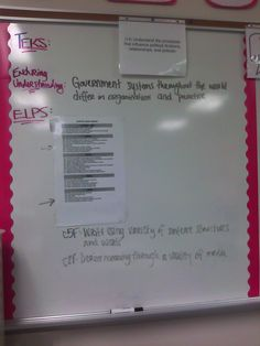 Dedicate a small portion of your board for TEKS, district standards, and ELPS.     1. Take the time to put TEKS objectives on a single sheet of paper. Place in sheet protectors. Change as necessary without having to rewrite many times.     2. If you have additional standards (ELPS) get a laminated copy, place it on the board, and then point arrows to the relevant objectives.