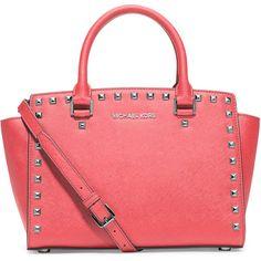 MICHAEL Michael Kors Selma Stud Medium Zip Satchel Bag ($328) ❤ liked on Polyvore featuring bags, handbags, coral, satchel handbags, zip top tote, michael michael kors handbags, red tote handbags and tote purse