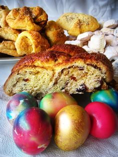 Bulgarian Easter with eggs and Kozunak. Yum!