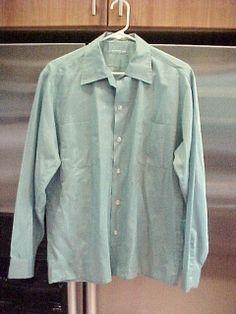 Vtg 1960s McGregor Light Blue Long Sleeve Mens Shirt 15 - Med 15-1/2 Rockabilly