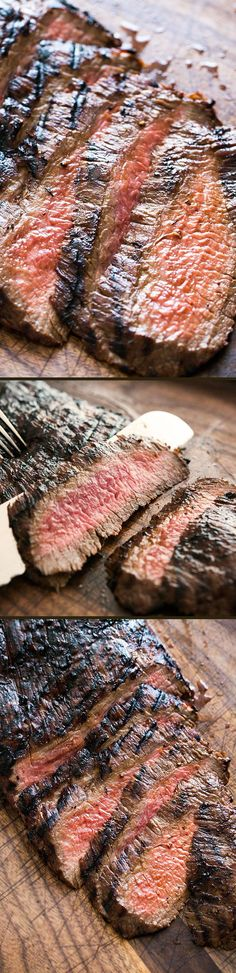 Grilled Marinated Flank Steak ~ A melt in your mouth flank steak that is cooked quickly with a high heat.  The marinade of soy sauce, honey and garlic does the trick for this cut of meat. ~ SimplyRecipes.com