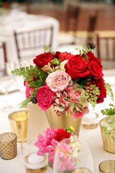 Red and pink florals with gold/ St. Regis Deer Valley Photo by Pepper Nix via Fab You Bliss