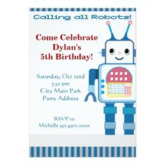 Robot Birthday Invitations Cool Robot Birthday Party Invitations