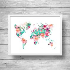World map | Floral Watercolor world map | Geography print | Travel decor art | Printable wall art - Instant download