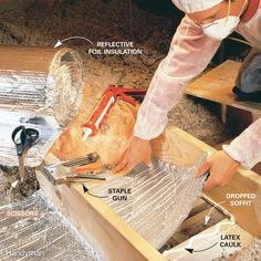 Here are some easy ways to save energy and money on heating bills. These fixes are inexpensive and you'll recoup savings in no time. Energy Saving Tips, Save Energy, Duct Insulation, Recessed Lighting Fixtures, Light Fixtures, Latex, Expanding Foam, Can Lights, Home Repairs