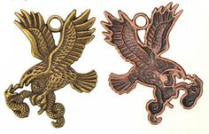 Zinc Alloy Animal Pendants,Eagle,Plated,Cadmium And Lead Free,Various Color For Choice,Approx 44*39*2mm,Hole:Approx 4mm,Sold By Bags,No002812