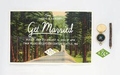 Wedding Invitation - Folded Vintage Forest Postcard Invitation set