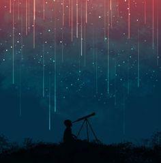 Meteor rain Art Print by budikwan night sky, meteor shower, star, sky. Ciel Art, Photo Ciel, Meteor Rain, City Poster, Rain Art, Meteor Shower, Sky Art, Anime Scenery, Belle Photo