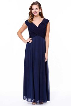 Mother of Bride Long Gown NX5120. Full Length A-Line Mother of Bride Evening Gown features Pleated Bodice with V Neckline and Invisible Zipper Closure on Back, Layered and Softly Gahered Solid Color Chiffon Skirt. https://www.smcfashion.com/wholesale-mother-of-bride-dresses/mother-of-bride-long-gown-nx5120