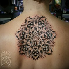 Tattoos | Mandala, Dotwork Mandala, Dotwork Tattoo, Upper Back Tattoo, Beautiful Tattoo By Alex Edge Tattoos in San Diego, CA