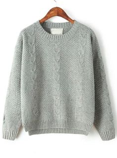 Grey Round Neck Long Sleeve Classic Cable Knit Sweater - abaday.com