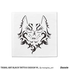 TRIBAL ART BLACK TATTOO DESIGN WOLF PRINT NAPKIN