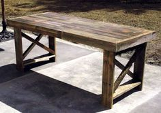 dining table made out of 3 shipping palletts
