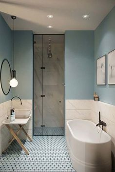 Gorgeous 78 Light Blue Bathroom Color Decorating Ideas 28 Bathroom Lighting Ideas to Brighten Your Style Design # Beautiful Bathrooms, Modern Bathroom, Bathroom Vintage, Minimalist Bathroom, Bathroom Grey, Shower Bathroom, Light Bathroom, Shower Door, Light Blue Bathrooms