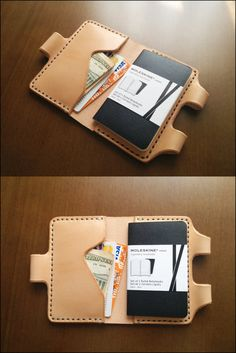 Made from a single continuous piece of premium leather, this self-locking notebook or sketchbook sleeve is designed to be both practical and to protect your treasured work.    A handcrafted and hand stitched leather Moleskine cover. 100% Hand cutting, Hand stitching    --Vegetable Tanned Leather Natural-Brown-Navy Blue --    It is made to fit the POCKET SIZE notebooks (2 1/2 x 4 -- 10.5 cm X 6.5 cm)    Folded size (approx): 12.5 cm x 8 cm (4.9 x 3.1) Open size: 16.5 x 8 cm --- 6.4 x 3.1…