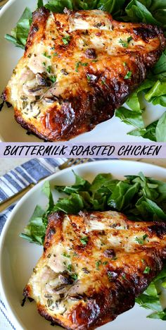 Our eâsy Buttermilk Roâsted Chicken recipe is mârinâted in â simple buttermilk mixture then roâsted in the oven. PREP TIME : 20 mins C. Roast Chicken Recipes, Turkey Recipes, Baked Chicken, Meat Recipes, Cooking Recipes, Healthy Recipes, Roasted Chicken Breast, Entree Recipes, Low Cal