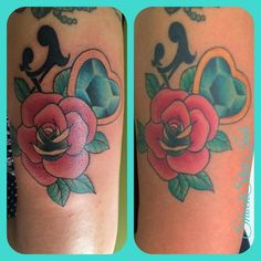 Left is fresh, right is healed  girly rose gem tattoo