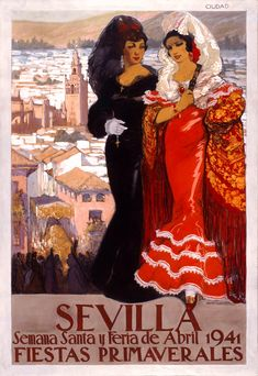 Spain 1941 Seville April Fair Travel Poster by Retro Graphics Retro Poster, Poster Poster, Advertising Pictures, Retro Advertising, Warehouse Design, Art Vintage, Spanish Art, Festivals Around The World, 1940s