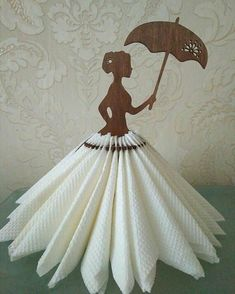 Napkin holder Girl with umbrella for 36 napkins. A beautiful napkin holder made in the shape of a girl. The holder provides decorative storage space for 36 nap Fairy garden party table Decor by FavorsByGirlybows on Etsy Diy And Crafts, Crafts For Kids, Arts And Crafts, Paper Crafts, Basket Decoration, Table Decorations, Ostern Party, Wood Napkin Holder, Silverware Holder