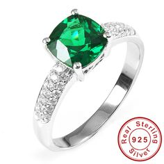 Square Cut Amazing Nano Russian Emerald Engagement Ring