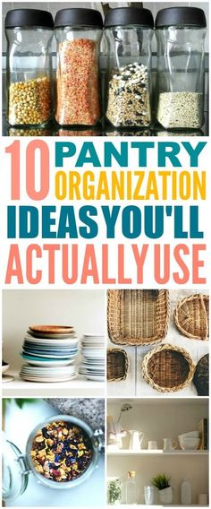 These 10 pantry organization idea are such great home hacks! I\'m so glad I found these AWESOME organization ideas! Now I have some great home organization ideas and hacks! #homehacks #organization #organizing #lifehacks #organizationideas #organizationtips #organizationhacks