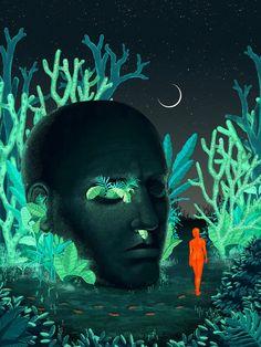 Illustration Nocturne, Illustration Jungle, Night Illustration, Garden Illustration, Digital Illustration, Jungle Art, Mystery, Wow Art, Freelance Illustrator