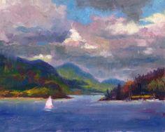 Smooth Sailing, impressionism fine art oil painting of sail boat on Alaska Inside Passage