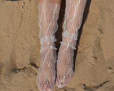 Tulle socks--Black and White