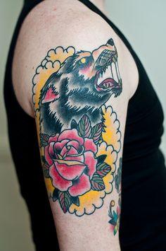 wolf & rose by Craig Ward, via Flickr Craig Ward, Old Tattoos, Tattoo Wolf, Tattoo Art, Body Mods, Traditional Tattoo, Watercolor Tattoo, Tatting, Body Art