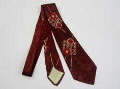 Vintage 1940s Suit Tie / 1950s Suit Tie in Red by 4birdsvintage