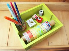 Masking Tape Organizer Lime Green by UltramarineSTARS on Etsy, $32.00