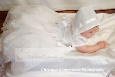 This sweet christening gown for girls has pretty embroidery over organza. Fully lined. Available at Christian Expressions of Rhode Island. Quality made in the USA Christening Gowns For Girls, Boy Christening Outfit, Baptism Outfit, Baptism Dress, Boy Baptism, Expressions Photography, Organza Dress, Baby Girl Dresses, Suits