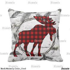 Birch Moose Throw Pillow