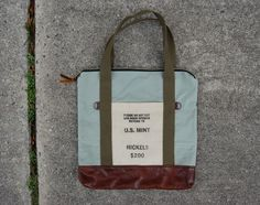 US Mint Nickels and Mahogany Leather Carryall by upatreecupateaco on Etsy https://www.etsy.com/listing/262278106/us-mint-nickels-and-mahogany-leather