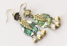 Boho Chic Green Feather Charm Earrings with by MusingTreeStudios