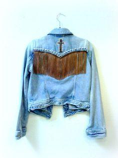 Denim Fringe Studded Jacket