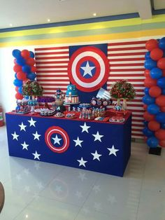 75 Blue and Red Party Themes Ideas - Spark Love Avengers Birthday, Superhero Birthday Party, 4th Birthday Parties, Birthday Party Decorations, Boy Birthday, Avengers Party Decorations, Captain America Party, Captain America Birthday, Anniversaire Captain America