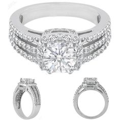 Diamond Halo Three Row Vintage Style Split Band Engagement Ring
