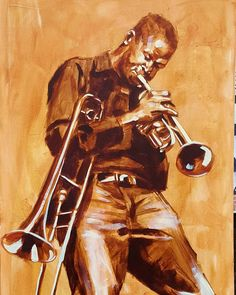 #Tromboneshorty #acrylic #painting #figurative #fineart #artforsale #frenchquarter #neworleans #trumet #trombone #jazz by anthonybordelon