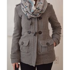Aeropostale Coat Gray peacoat-style coat from Aeropastale. Super warm and comfortable. Hardly ever worn so it is in excellent condition! Infinity scarf (Jack Wills) also for sale in my closet! Aeropostale Jackets & Coats Pea Coats