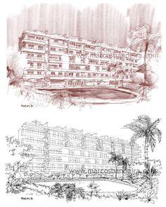 Ilustração arquitetônica produzida em um iPad Pro com a Apple Pencil e o aplicativo Procreate.