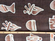 Stoff Ornamente - Stoffrarität! Handgewebter Hanf braun - ein Designerstück von knopfelfe bei DaWanda